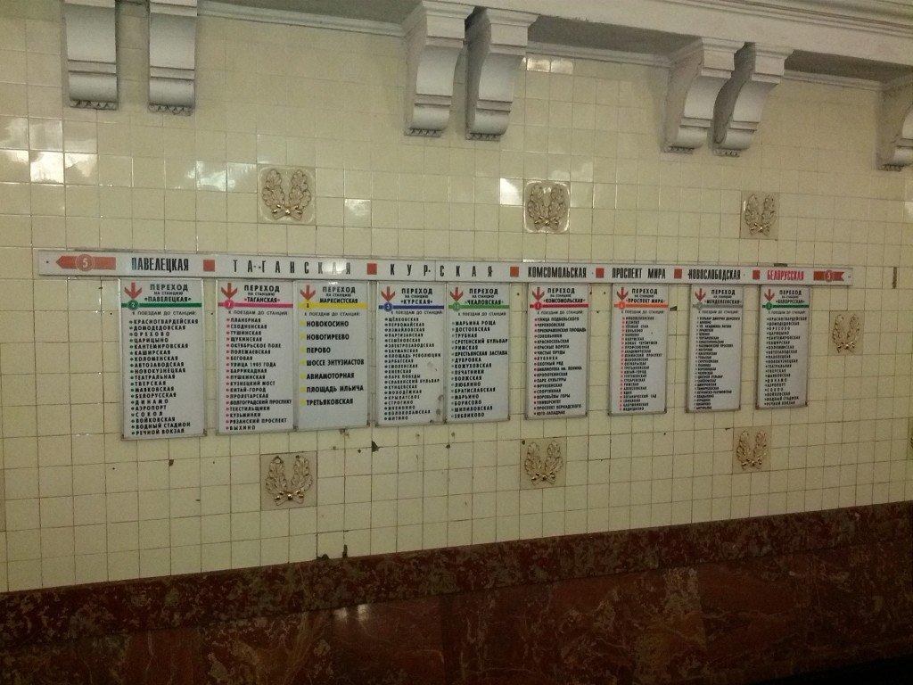 Detalle paradas del Metro de Moscu