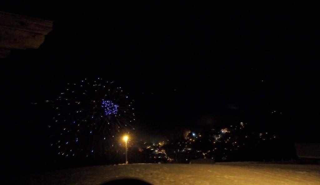 Fuegos artificiales tras la subida a Kirchberg