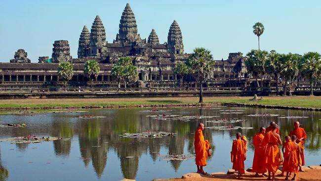 Monjes budistas en Angkor