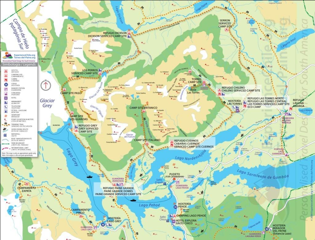 Mapa del Parque Nacional Torres del Paine ; Chile