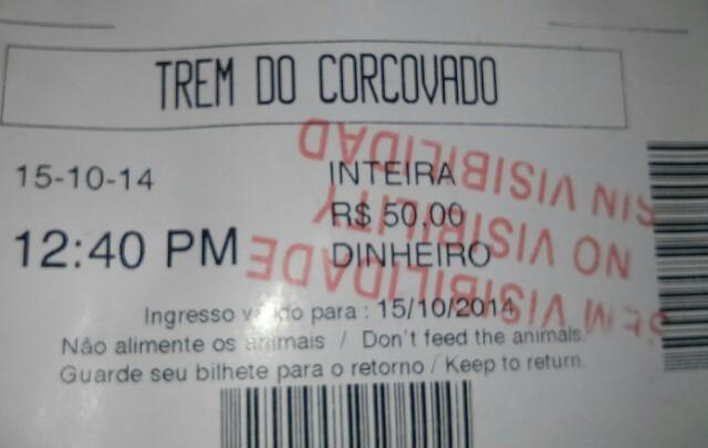 Ticket del tren de Corcovado