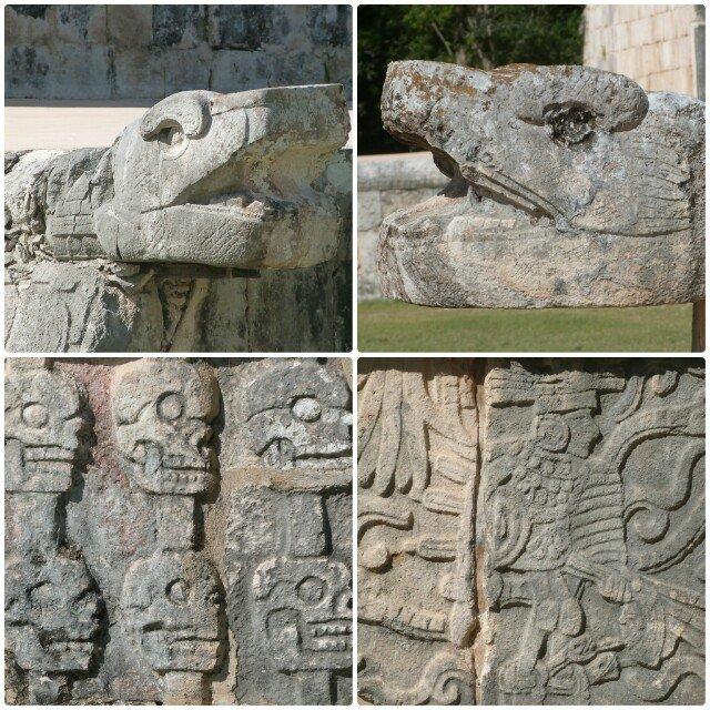 Detalles de templos en Chichén Itzá