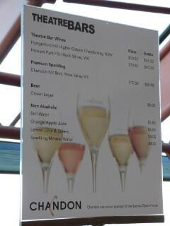 Carta de bebidas en la ópera