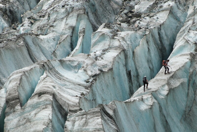 Intrépidos escaladores en glaciar Fox
