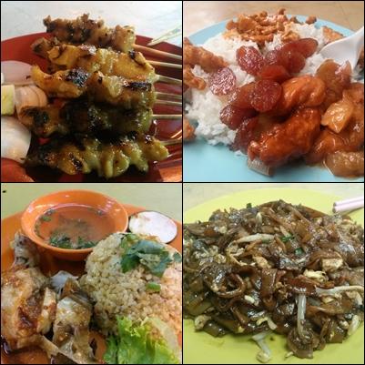 Comida en mercado de Chinatown en KL