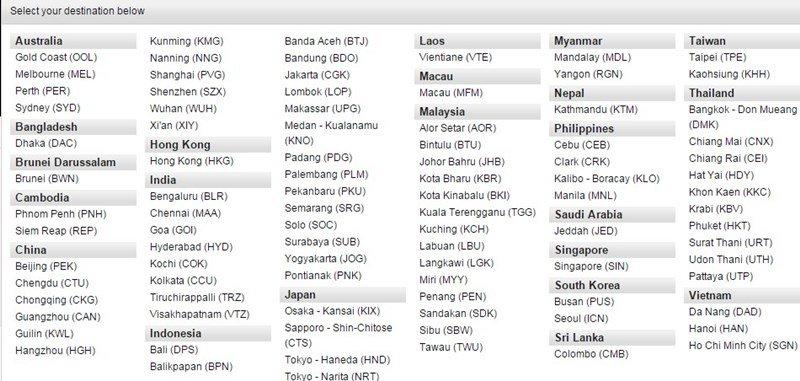 Mapa de destinos de Air Asia desde KL