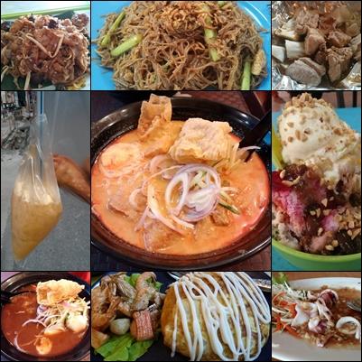 Muestra de comidas en Malasia