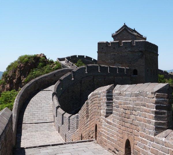 Primer plano de la Gran Muralla en Jinshanling