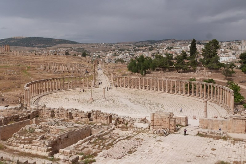 La plaza ovalada de Jerash