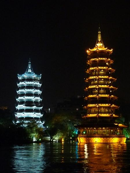 Pagodas de Sol y la Luna en Guilin