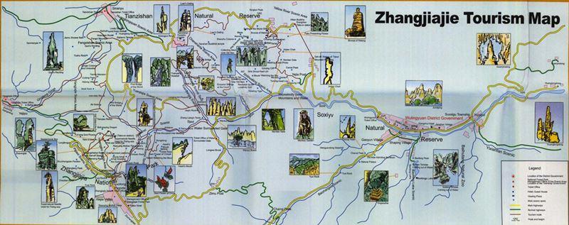 Mapa de Zhangjiajie