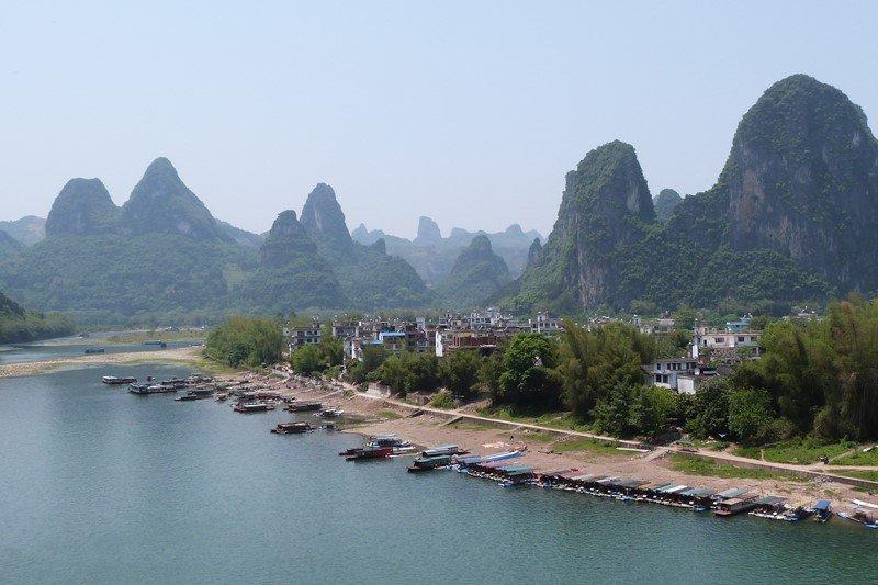 Vistas de Xinping al inicio de la subida a la colina
