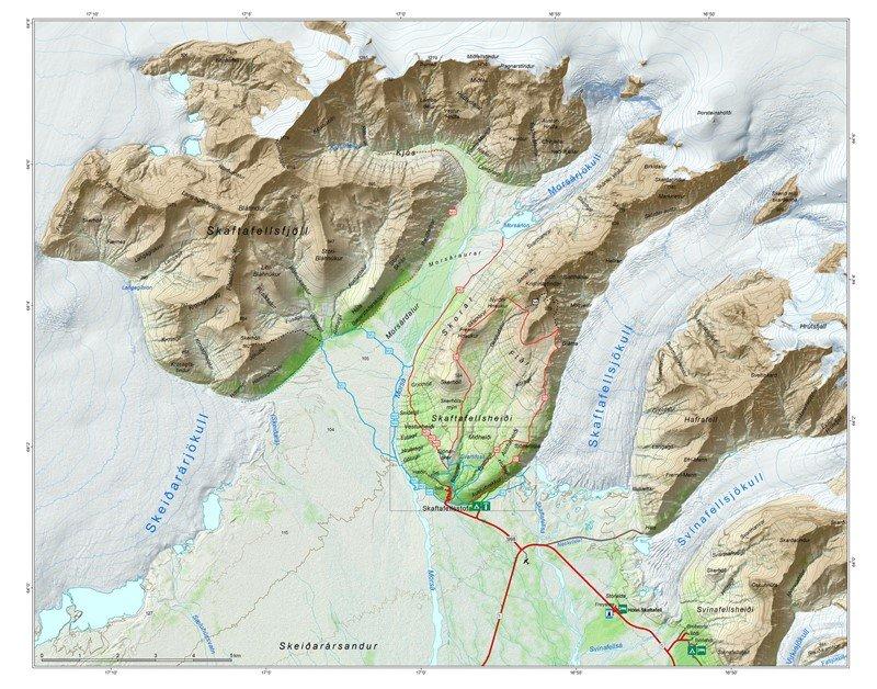Mapa de Skaftafell