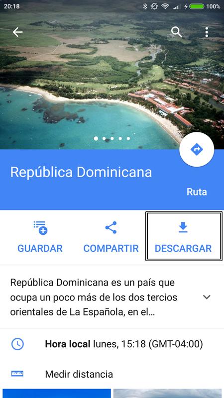 Descarga zona sin conexión - Google Maps