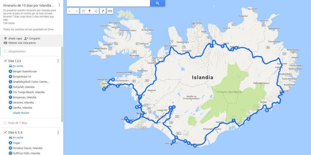 Mapa personalizado de Islandia