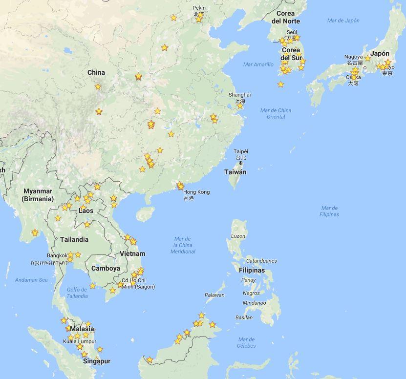 Vista de mi mapa de favoritos del Sudeste Asiático