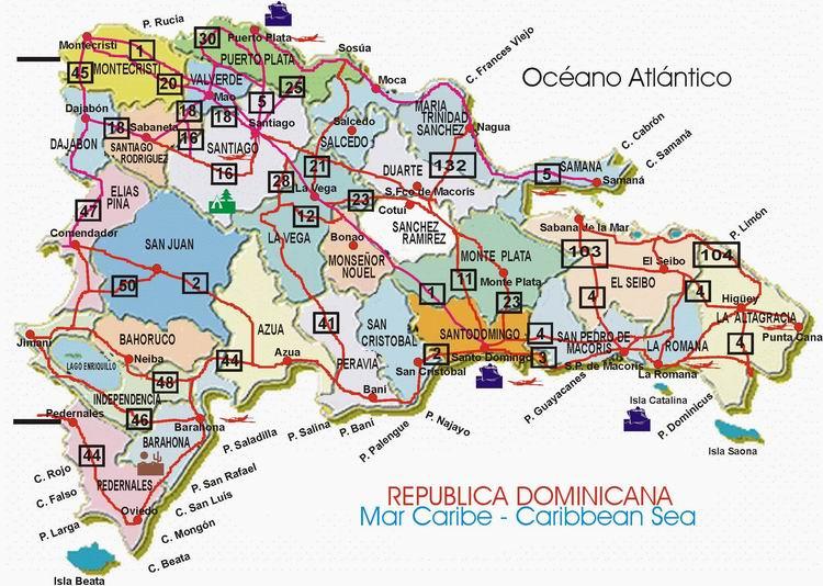Mapa de carreteras en República Dominicana