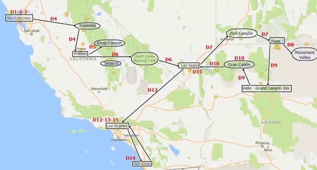 Mapa de la ruta de 15 días por la costa oeste