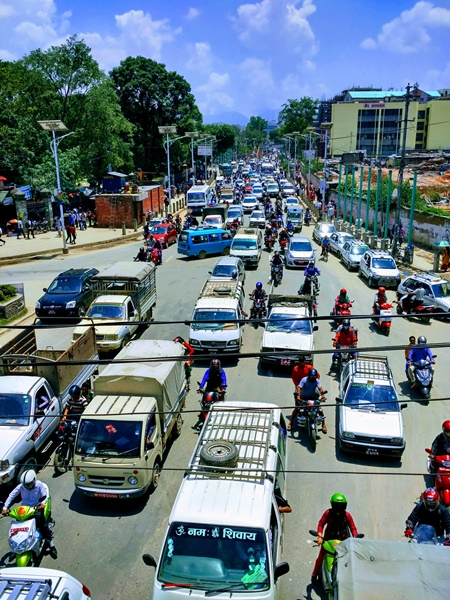 Tráfico en Katmandú