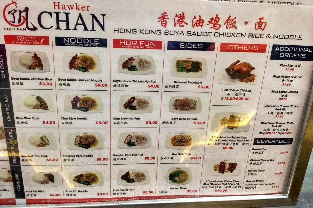 Carta menú de Liao Fan Hawker Chan