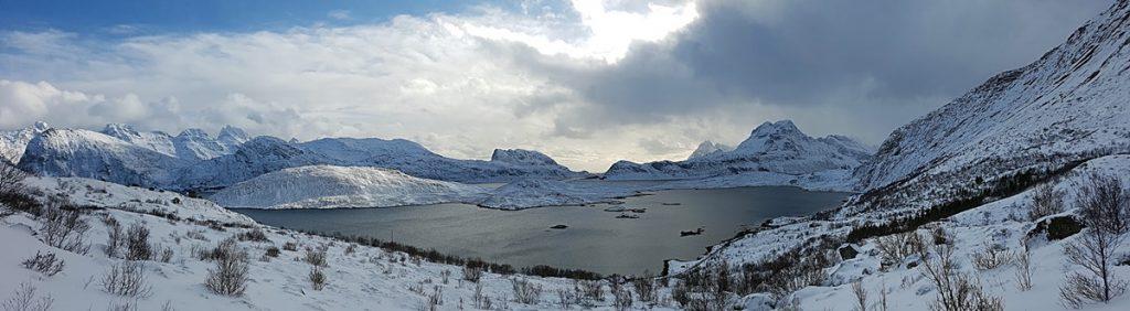 Panorámica de Fredvang en las Lofoten