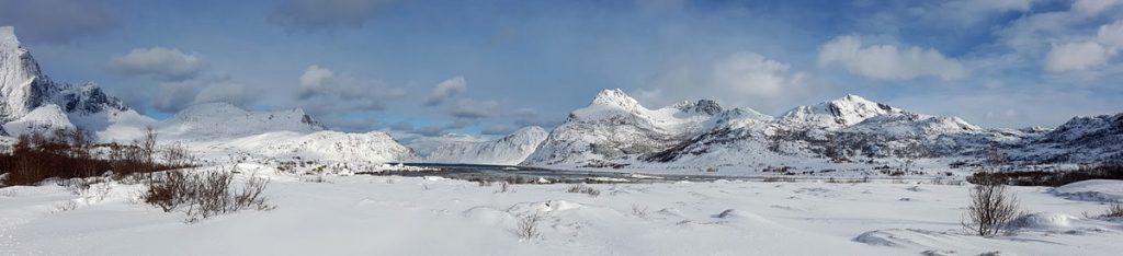 Panorámica de un paisaje de las Lofoten